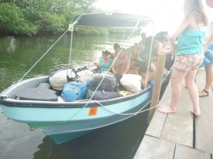 The Belize team arrives.  16 people with a ton of stuff - the boat was quite low in the water and quite slow too