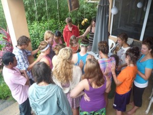 Praying over Simon and Amalia as they head out on outreach