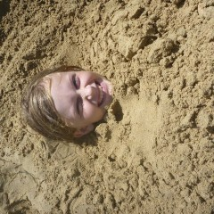 Enjoying the sand at Red Frog Beach