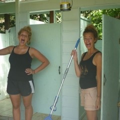 Eli and Erika putting on brave faces for the bathroom cleaning task ahead of them.  Seriously people, these girls were BRAVE.