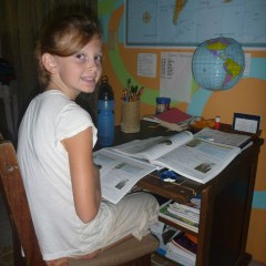 Ellie at her school desk.