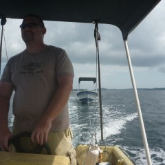 """Captain Isaac"" towing our ""new"" boat"