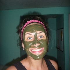 And applied green face masks.  Don't I look grand?