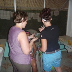 Applying mud masks on Amalia and Nereida for the first time.