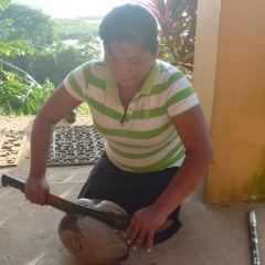 First part of the coconut husking lesson