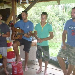 The S.A. team sharing a song in Afrikaans