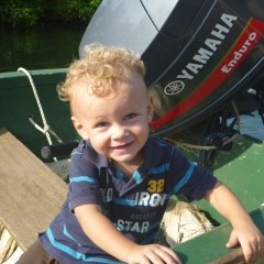 Ethan is obsessed with boats and motors - seriously
