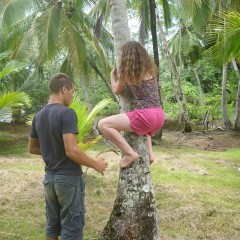 Mulder teaching the art of climbing coconut trees