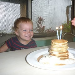 Valor's birthday pancake cake.  Love his face!