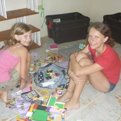 Ellie and Macy love hanging out playing Legos and doodling